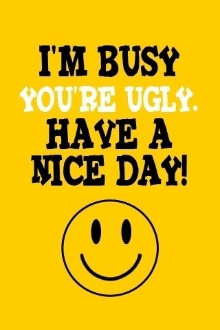 quotes about ugliness. You#39;re Ugly. Have A Nice Day.