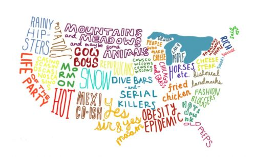 United States Of Words - Fun map of the us