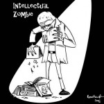 Intellectual Zombie eats books, not brains.