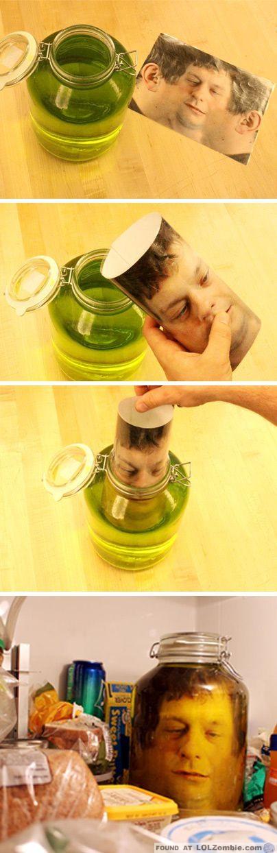 Freaky put a head in a jar in the fridge for Heads in jar
